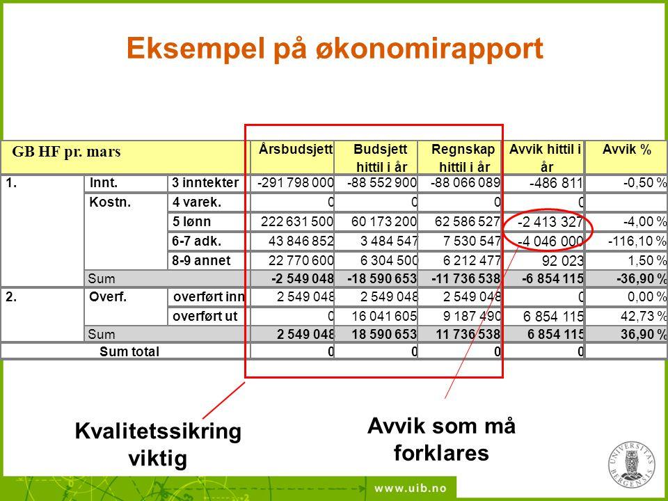 Eksempel på økonomirapport