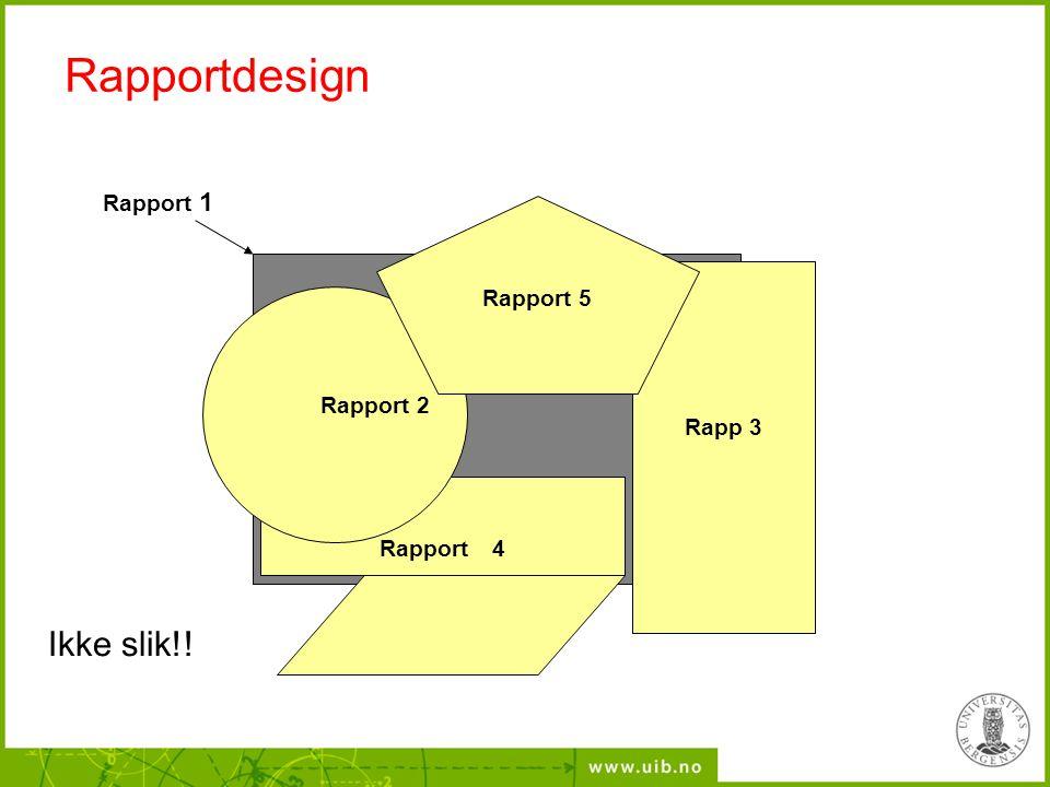 Rapportdesign Ikke slik!! Rapport 1 Rapport 5 Rapp 3 Rapport 2