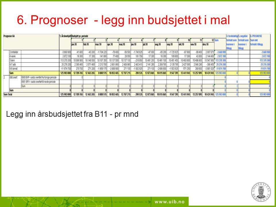 6. Prognoser - legg inn budsjettet i mal