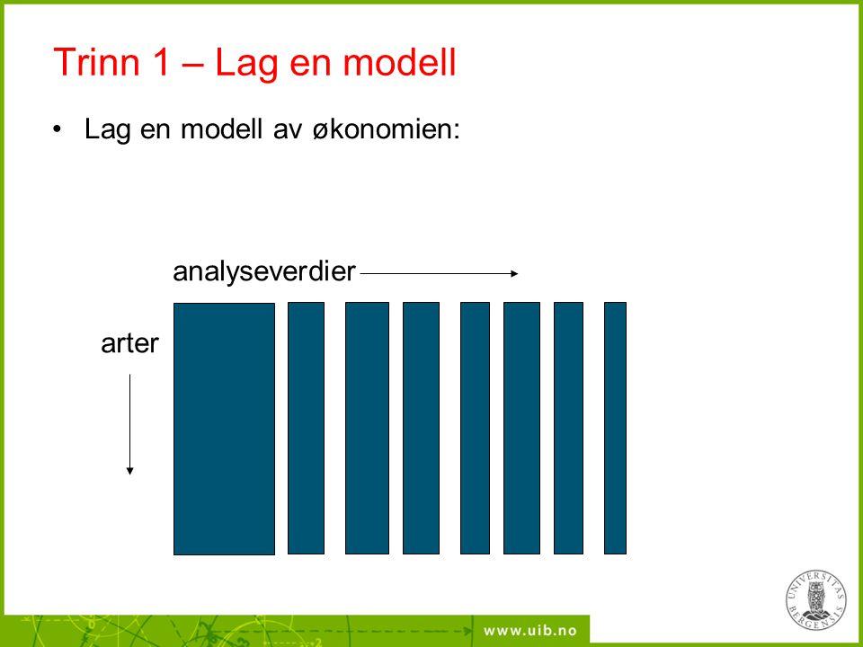 Trinn 1 – Lag en modell Lag en modell av økonomien: analyseverdier