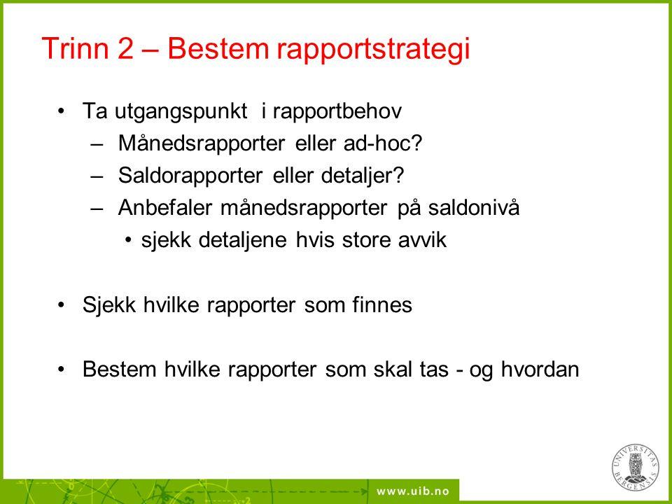 Trinn 2 – Bestem rapportstrategi