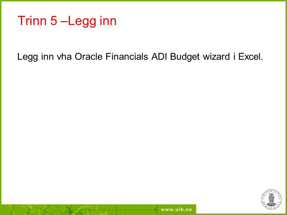 Trinn 5 –Legg inn Legg inn vha Oracle Financials ADI Budget wizard i Excel.