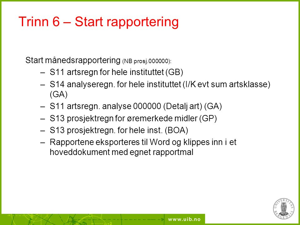 Trinn 6 – Start rapportering