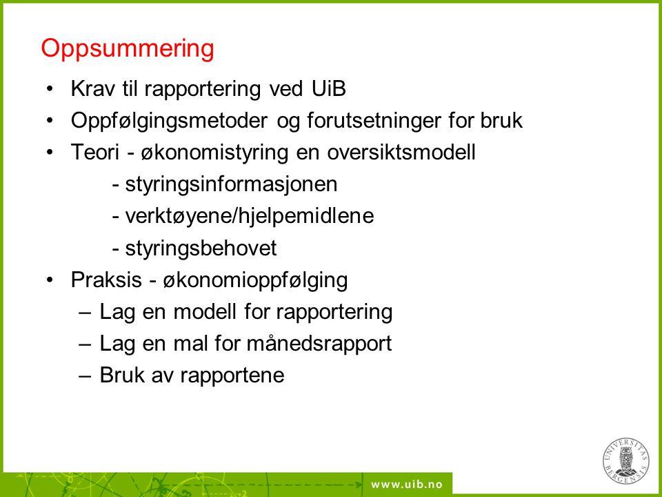 Oppsummering Krav til rapportering ved UiB