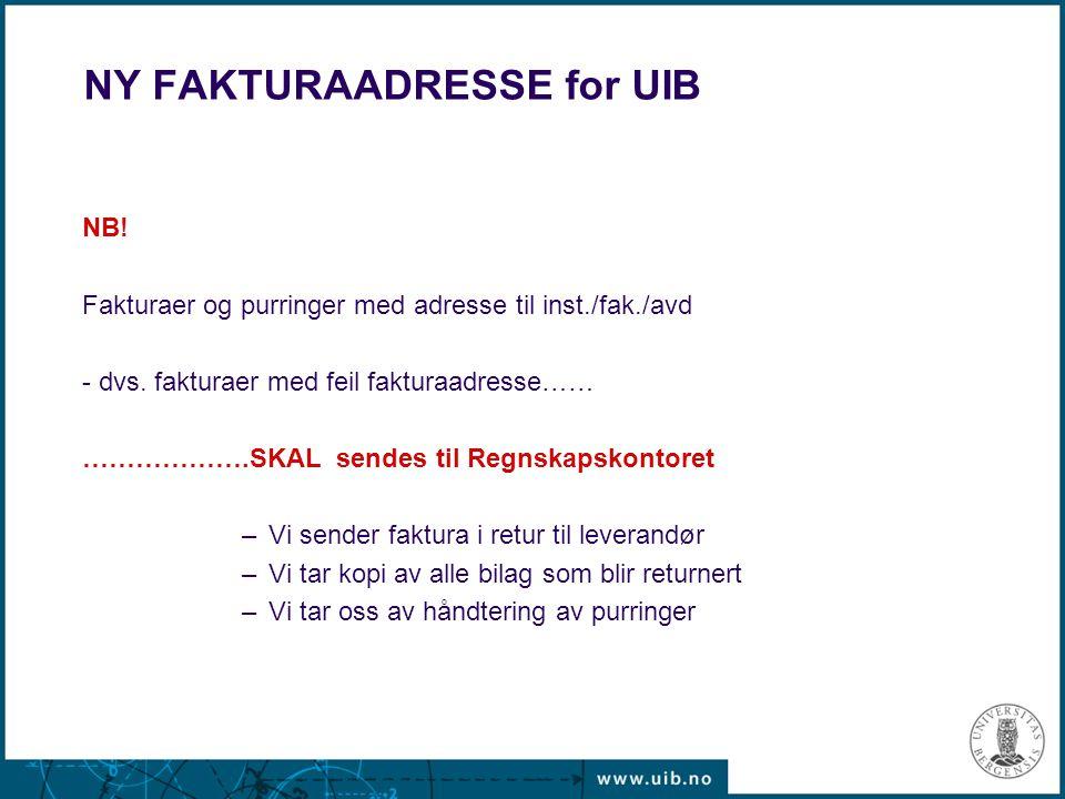 NY FAKTURAADRESSE for UIB