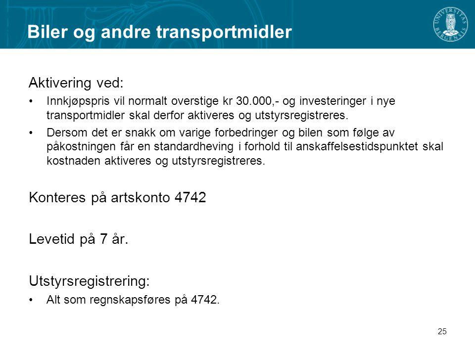 Biler og andre transportmidler