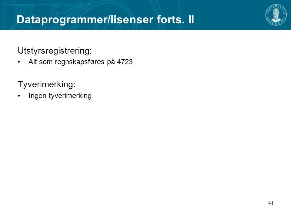 Dataprogrammer/lisenser forts. II
