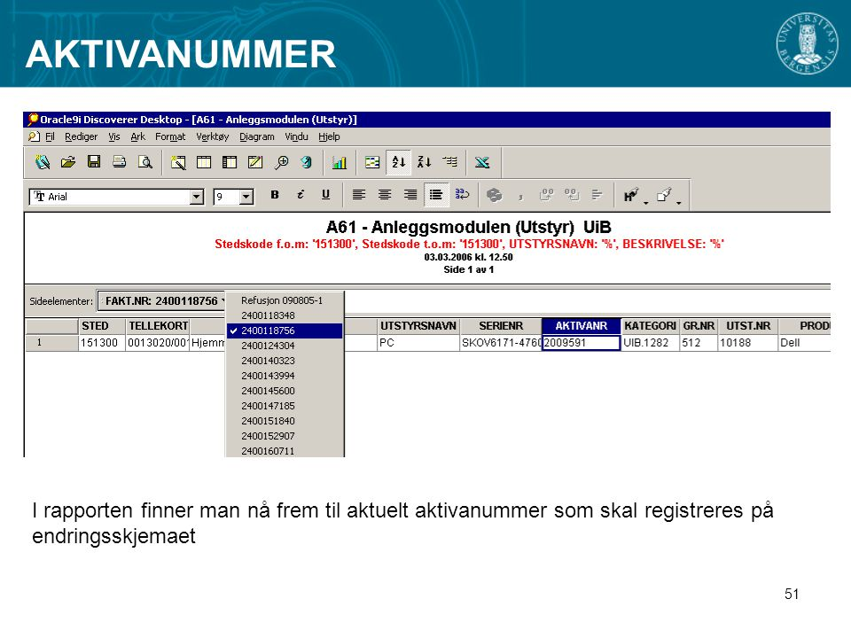 AKTIVANUMMER I rapporten finner man nå frem til aktuelt aktivanummer som skal registreres på endringsskjemaet.