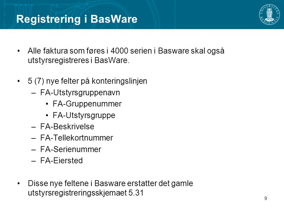 Registrering i BasWare