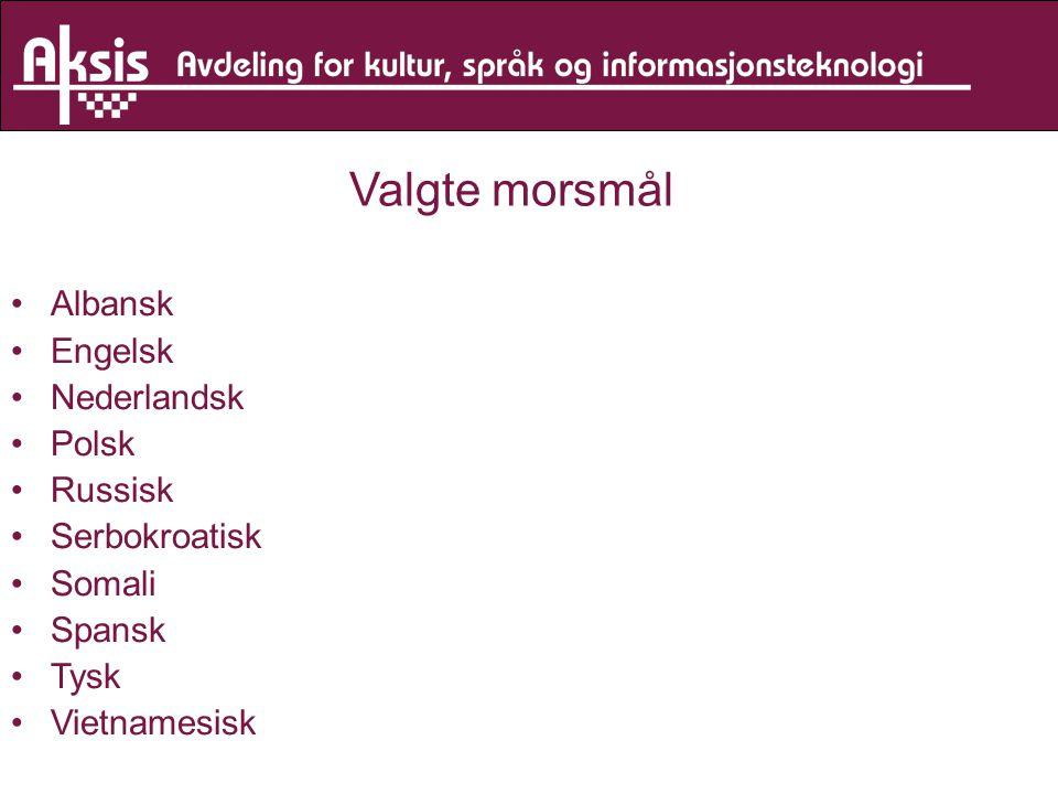 Valgte morsmål Albansk Engelsk Nederlandsk Polsk Russisk Serbokroatisk