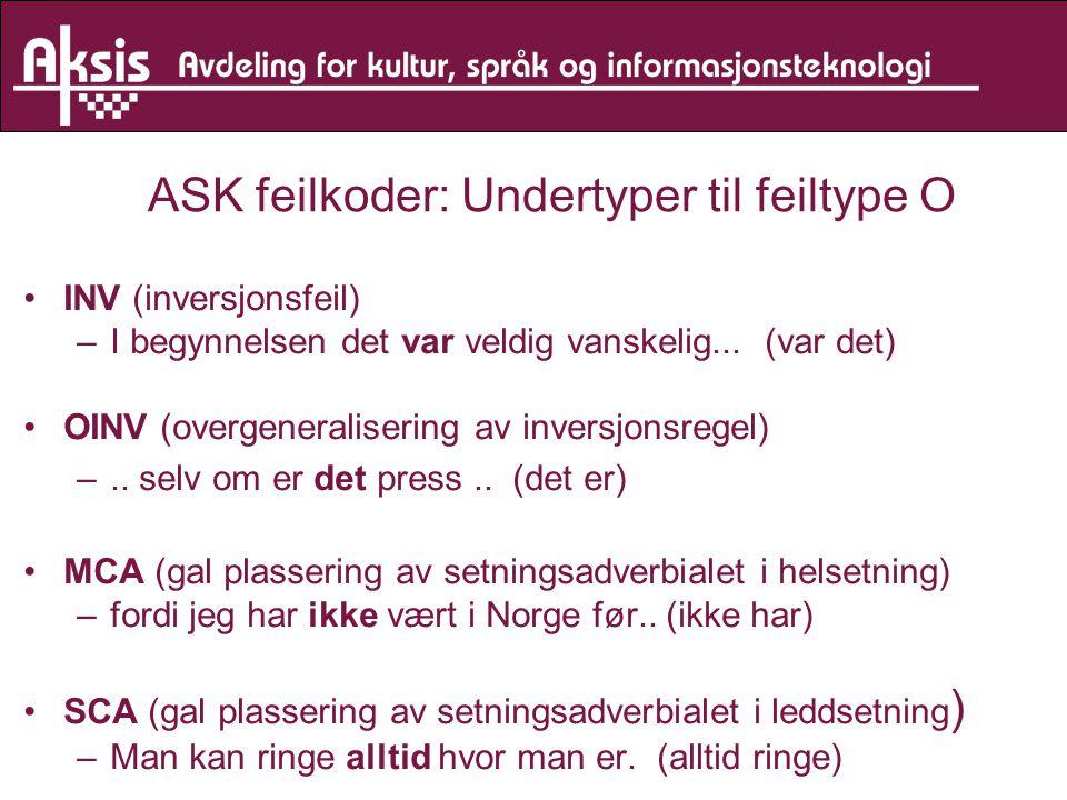 ASK feilkoder: Undertyper til feiltype O