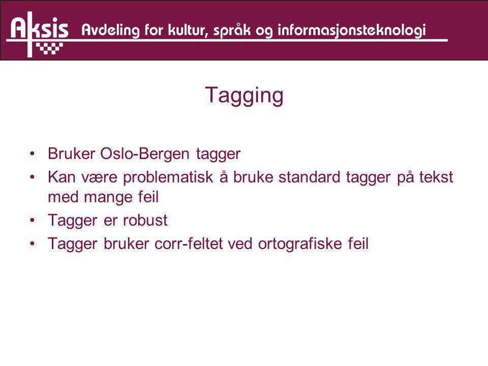 Tagging Bruker Oslo-Bergen tagger