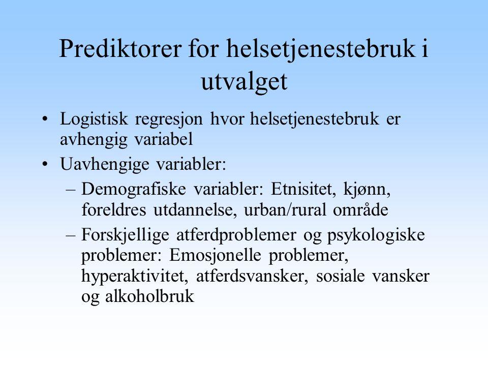 Prediktorer for helsetjenestebruk i utvalget