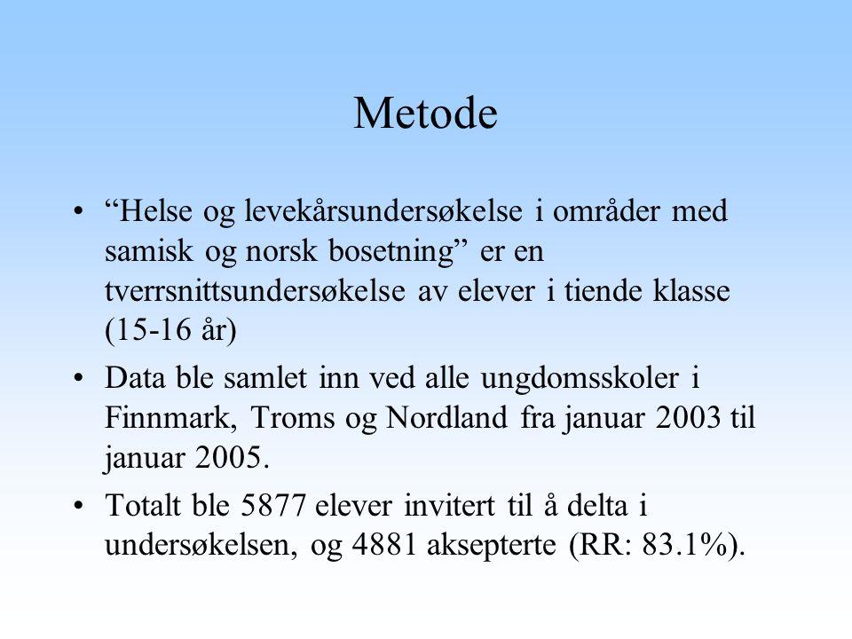 Metode Helse og levekårsundersøkelse i områder med samisk og norsk bosetning er en tverrsnittsundersøkelse av elever i tiende klasse (15-16 år)