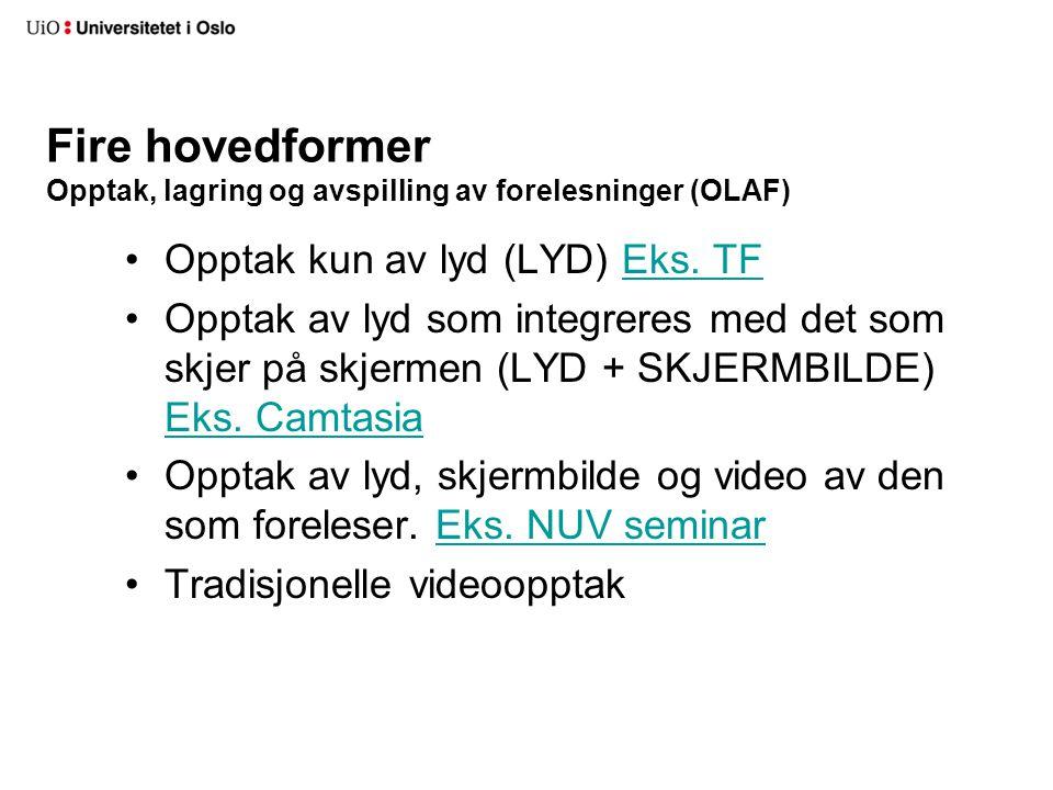 Fire hovedformer Opptak, lagring og avspilling av forelesninger (OLAF)