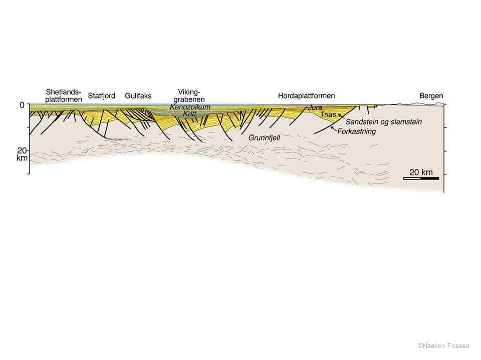 Profil langs en dypseismisk linje som strekker seg vestover fra Bergen og over på britisk sektor (grensen går gjennom Statfjordfeltet).