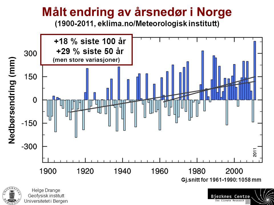 Målt endring av årsnedør i Norge