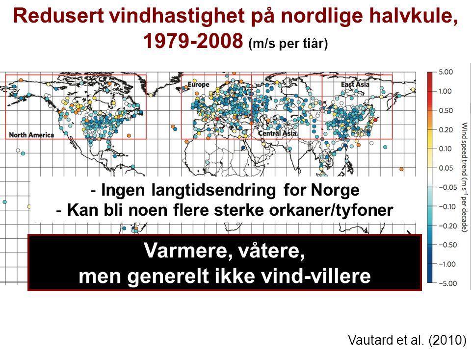 Redusert vindhastighet på nordlige halvkule, 1979-2008 (m/s per tiår)