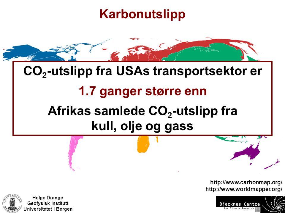 CO2-utslipp fra USAs transportsektor er 1.7 ganger større enn