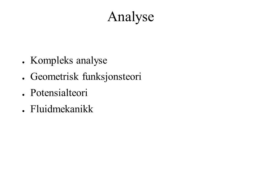 Analyse Kompleks analyse Geometrisk funksjonsteori Potensialteori