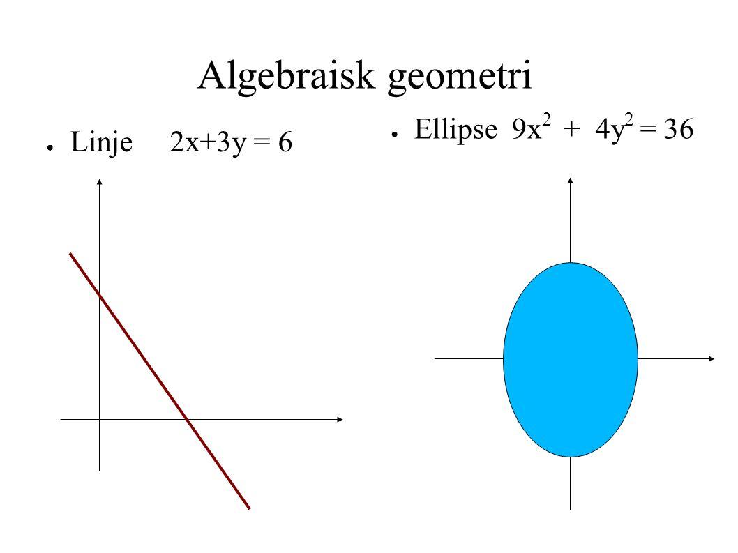 Algebraisk geometri Ellipse 9x2 + 4y2 = 36 Linje 2x+3y = 6