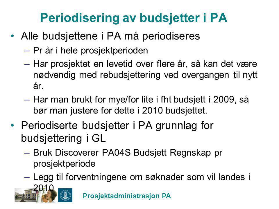 Periodisering av budsjetter i PA