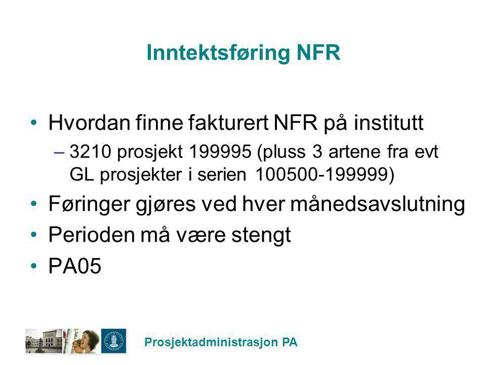 Hvordan finne fakturert NFR på institutt