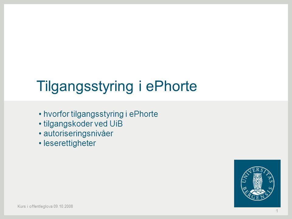 Tilgangsstyring i ePhorte