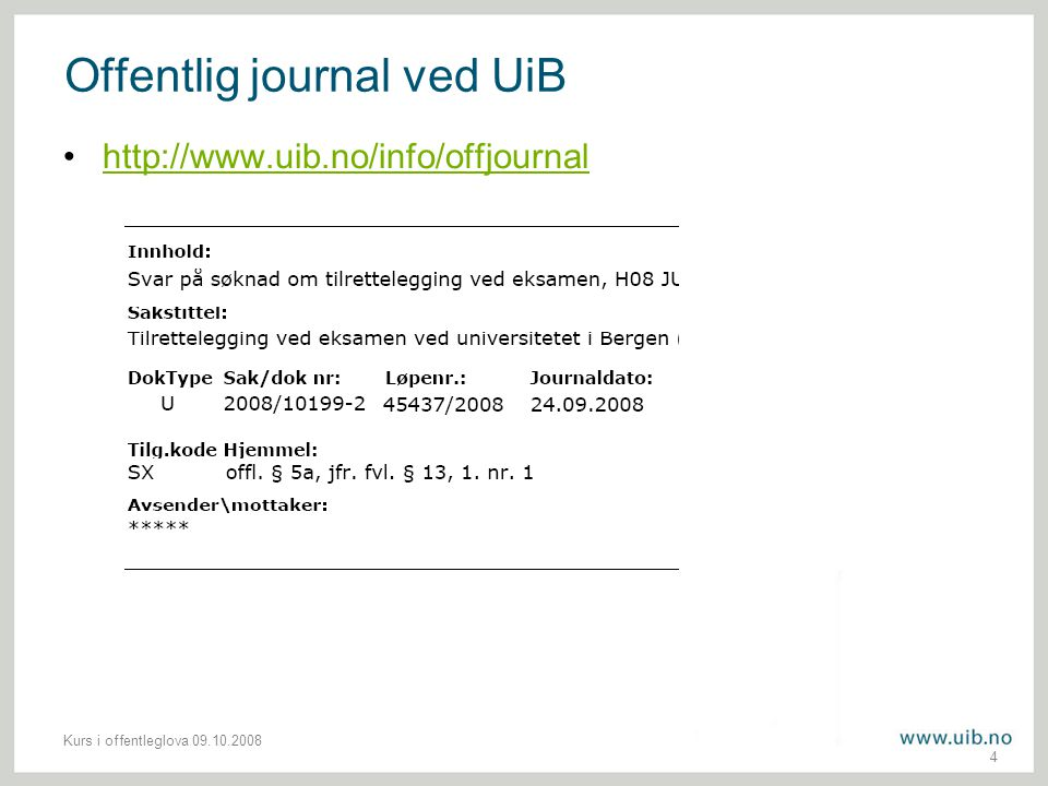 Offentlig journal ved UiB