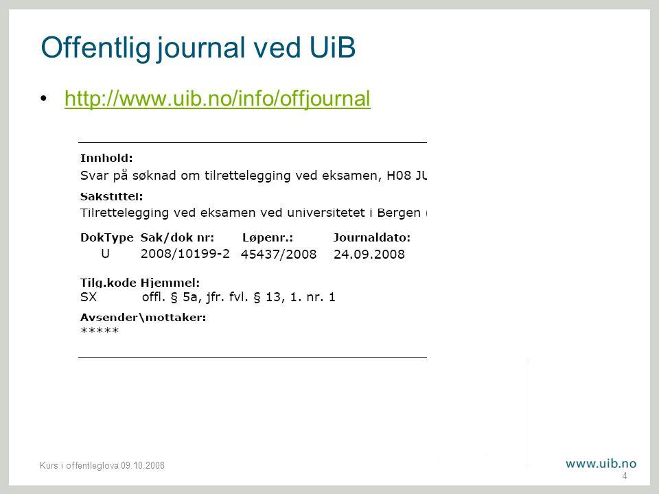 Offentlig journal ved UiB