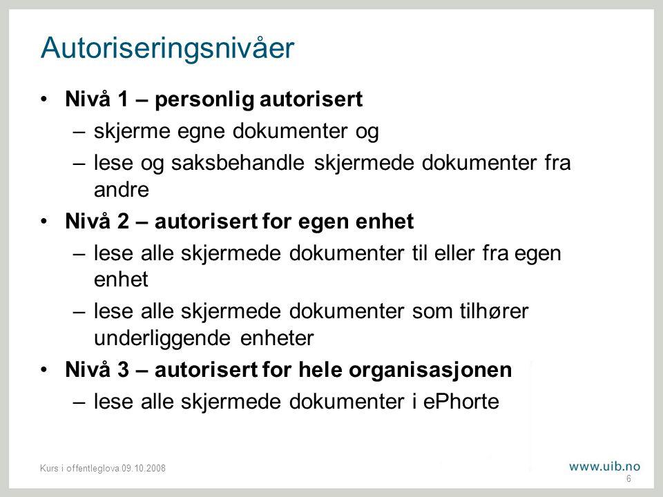 Autoriseringsnivåer Nivå 1 – personlig autorisert