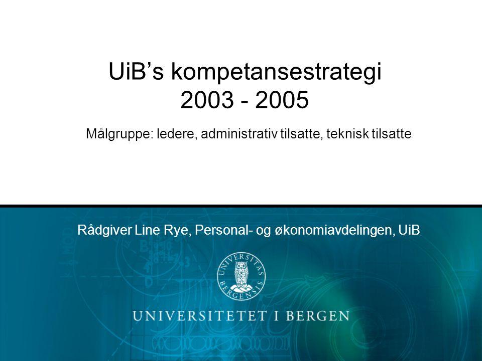 UiB's kompetansestrategi 2003 - 2005