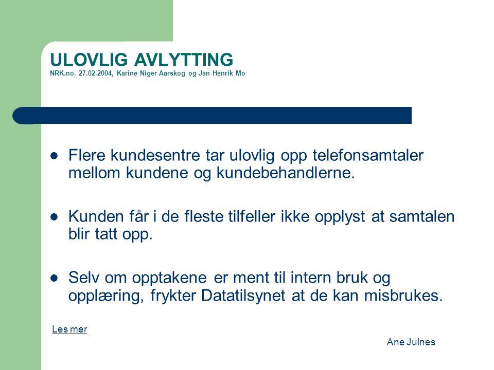 ULOVLIG AVLYTTING NRK. no, 27. 02