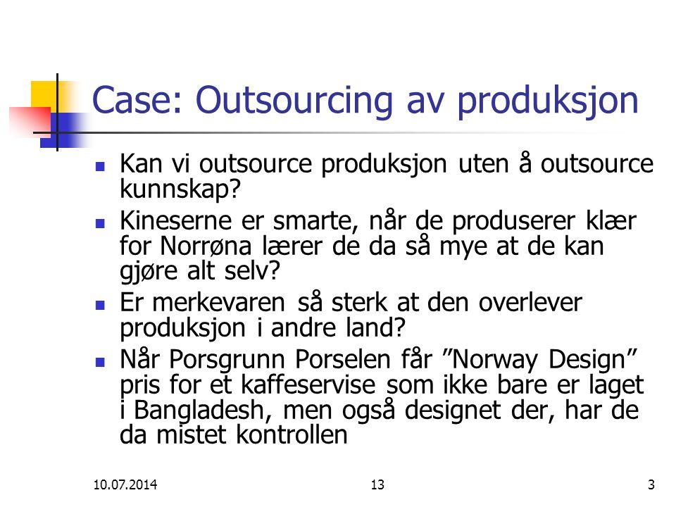 Case: Outsourcing av produksjon