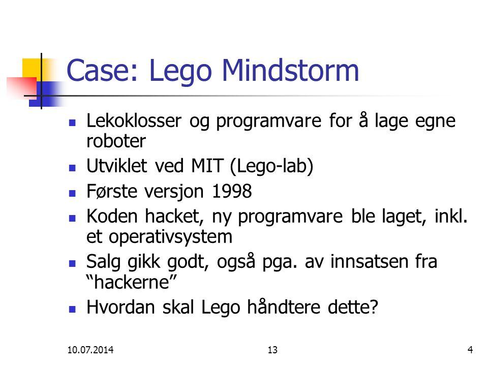 Case: Lego Mindstorm Lekoklosser og programvare for å lage egne roboter. Utviklet ved MIT (Lego-lab)