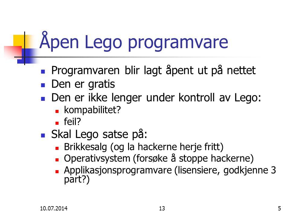 Åpen Lego programvare Programvaren blir lagt åpent ut på nettet