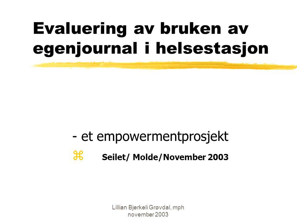 Evaluering av bruken av egenjournal i helsestasjon