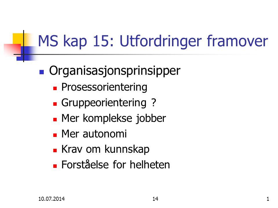 MS kap 15: Utfordringer framover