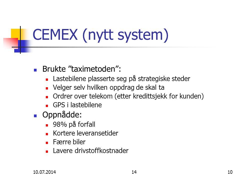 CEMEX (nytt system) Brukte taximetoden : Oppnådde: