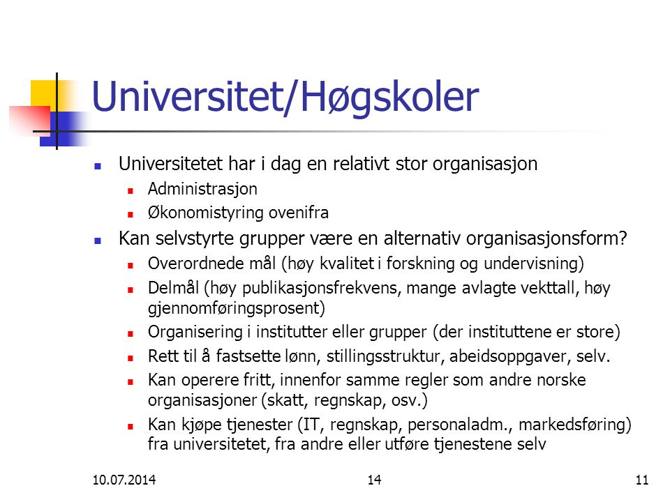 Universitet/Høgskoler