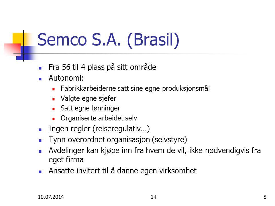 Semco S.A. (Brasil) Fra 56 til 4 plass på sitt område Autonomi: