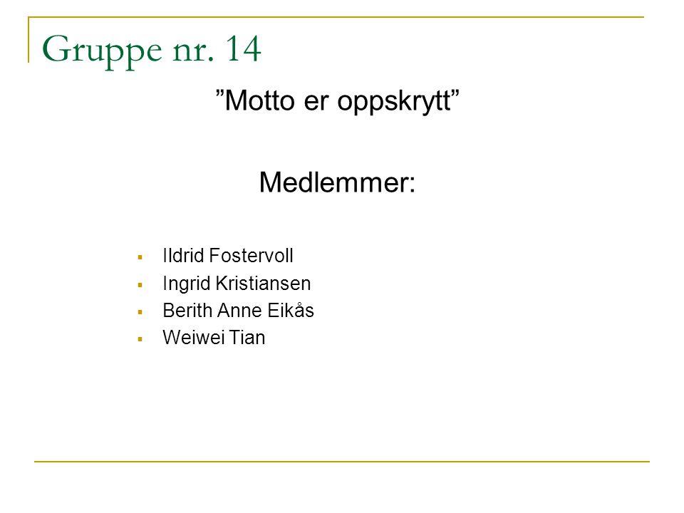 Gruppe nr. 14 Motto er oppskrytt Medlemmer: Ildrid Fostervoll