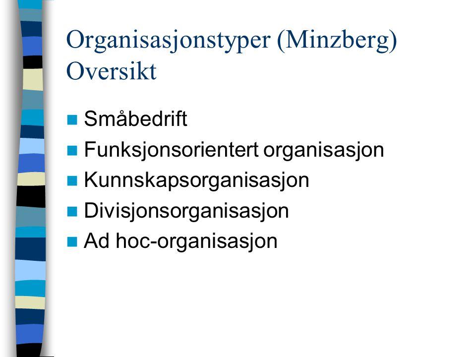 Organisasjonstyper (Minzberg) Oversikt
