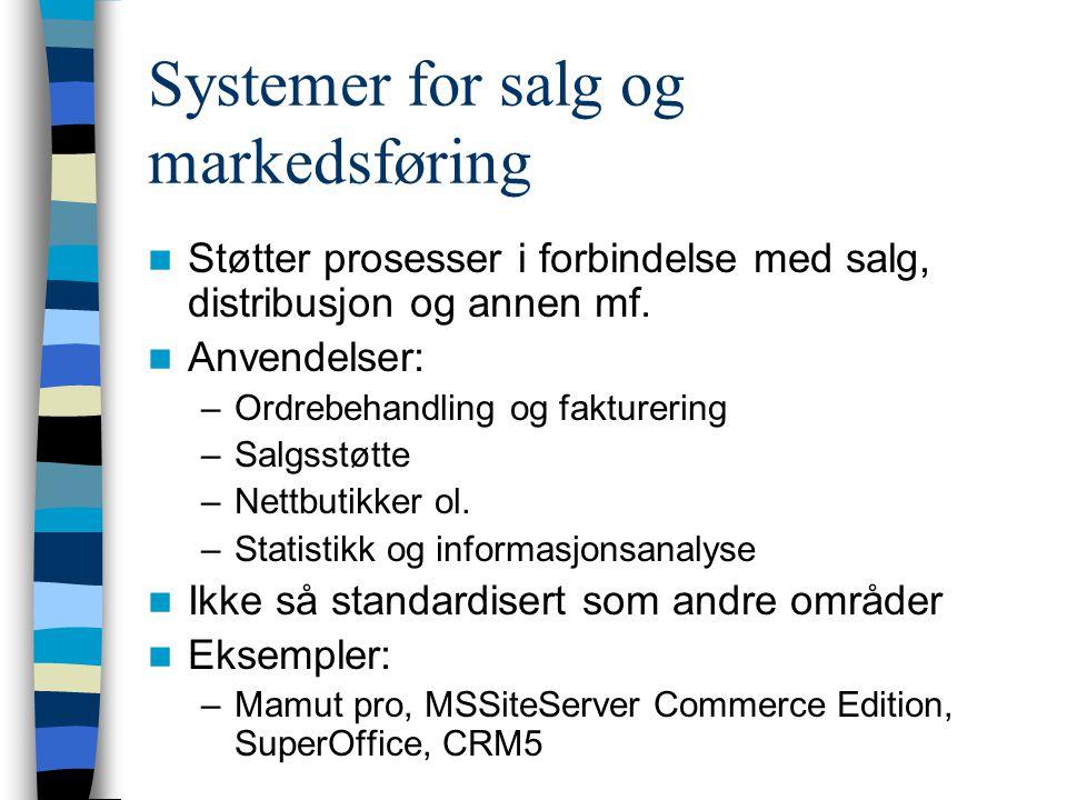 Systemer for salg og markedsføring