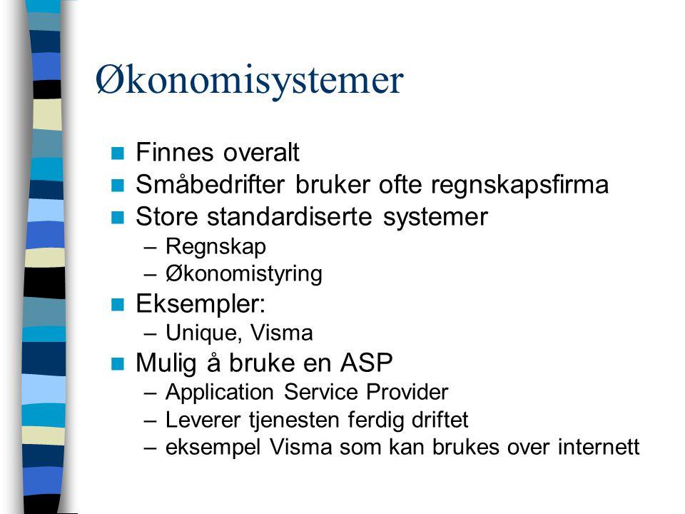 Økonomisystemer Finnes overalt Småbedrifter bruker ofte regnskapsfirma