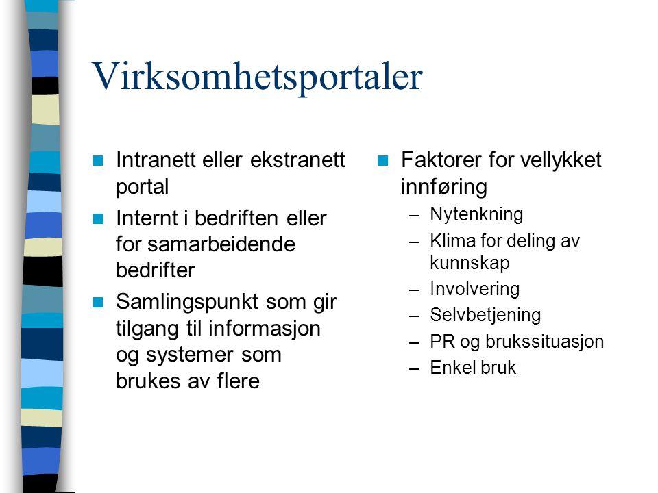 Virksomhetsportaler Intranett eller ekstranett portal
