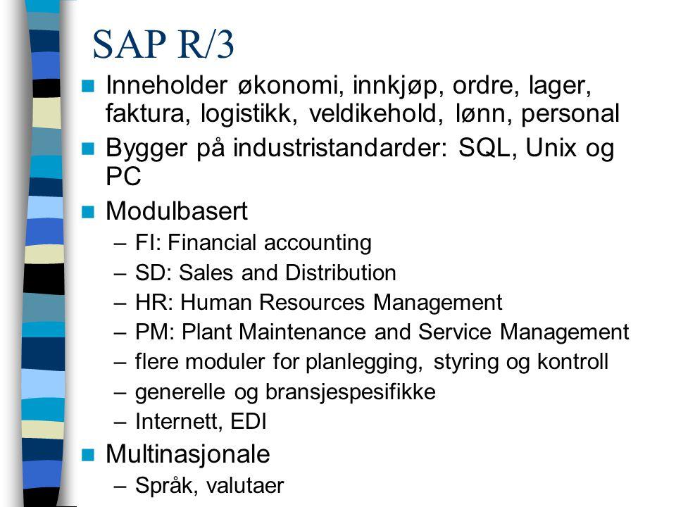 SAP R/3 Inneholder økonomi, innkjøp, ordre, lager, faktura, logistikk, veldikehold, lønn, personal.
