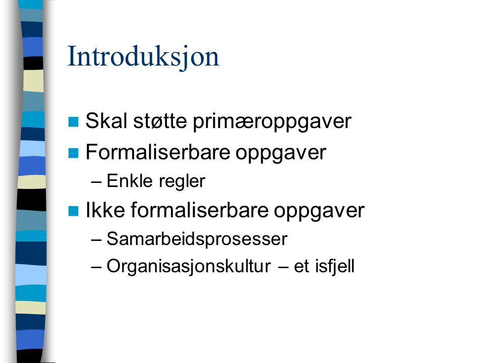 Introduksjon Skal støtte primæroppgaver Formaliserbare oppgaver