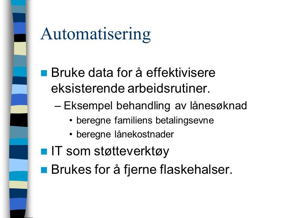 Automatisering Bruke data for å effektivisere eksisterende arbeidsrutiner. Eksempel behandling av lånesøknad.