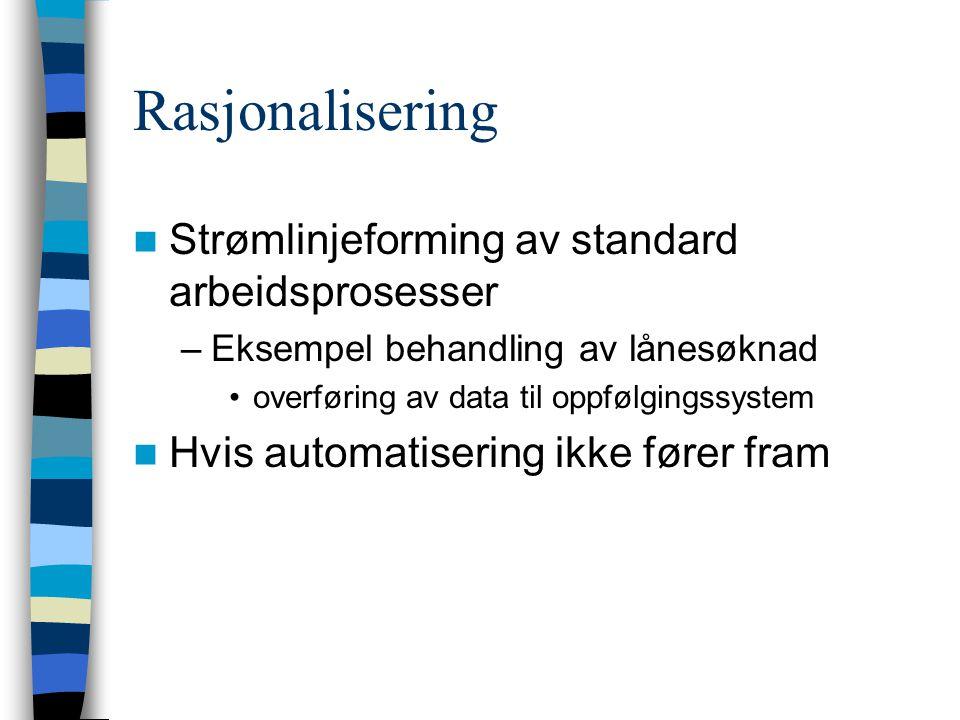Rasjonalisering Strømlinjeforming av standard arbeidsprosesser